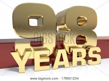Golden digit ninety eight and the word of the year. 3D illustration
