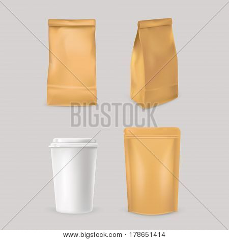 Set of icons for fast food packaging - paper bags and styrofoam cup. Ready for your design.