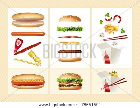 illustration of a poster with the ingredients for hot dog, hamburger, Chinese noodles