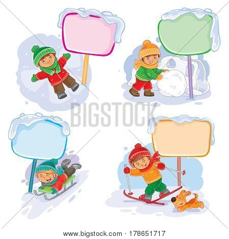 A set of winter icons of small children and speech bubble