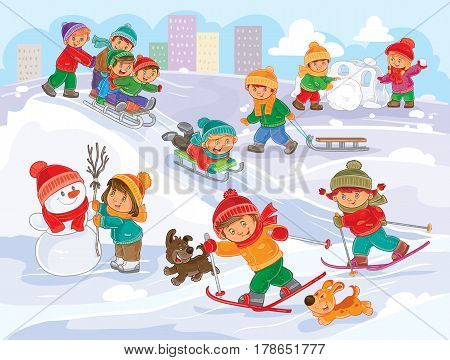 winter illustration of small children mold snowmen, playing snowballs, sledding and skiing