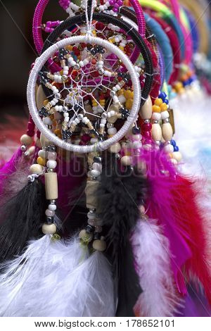 Colorful dreamcatchers on a market close up