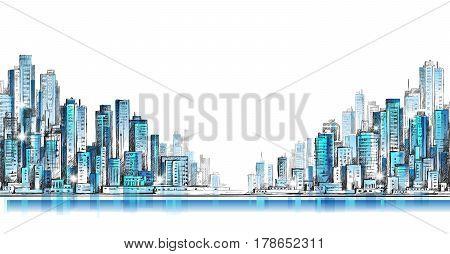 Cityscape Building Line Art Vector Illustration