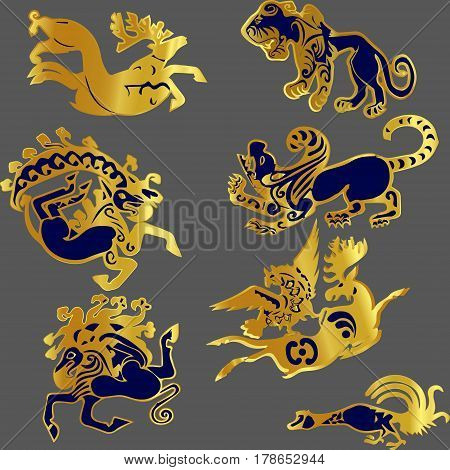 Scythian animals. Can be used as decoration, charms,keyrings. Created based on actual tattoos of the ancient Scythians.
