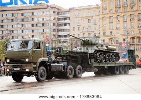 Russia. Moscow. Tver street 09 May 2009 Victory Parade. Military equipment in the city. Truck is carrying a tank