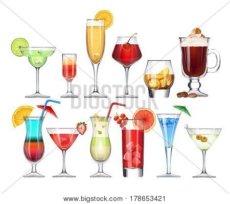 set of stemware and glasses with cocktail. realistic, style