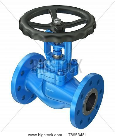 Blue industrial valve isolated on white background - 3D illustration