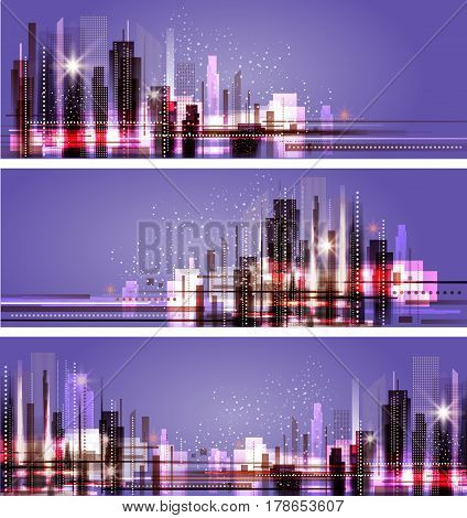 Night City Background, Vector Illustration