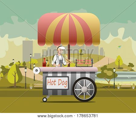 Street food vending cart with hot dogs vector illustration.