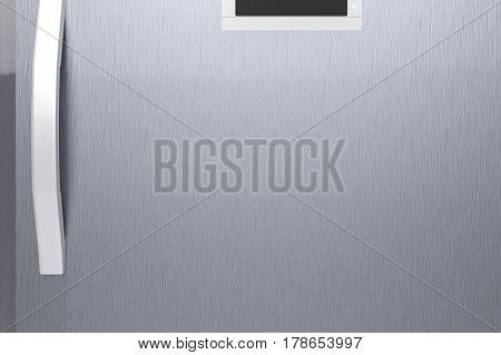 3d rendering silver fridge door with handle