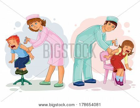 Set illustrations of little children and vaccinations