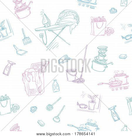Vector sketch color seamless pattern of objects and situations house cleaning. Unwashed dishes and not ironed linen, items and accessories for cleaning, buy food and cooking