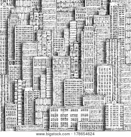 City Landmark. Hand-drawn Background.