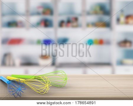 Wire Whisk On Counter With Kitchen Background