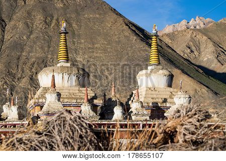 Stupas of the Lamayuru Monastery (Yuru Gompa) Leh districtLadakh Himalayas Jammu and Kashmir Northern India