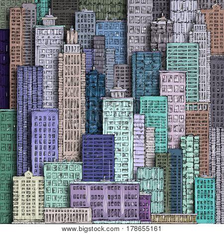 Cityscape. Hand-drawn Background.
