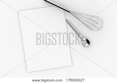 Blank Paper With Kitchen Utensils Top View
