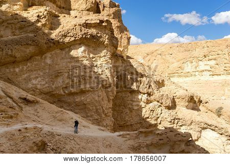 Hiking in mideast stone desert tourism travel