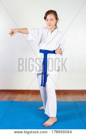 Children During Training In Karate. Fighting Position