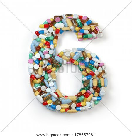 Number 6 six. Set of alphabet of medicine pills, capsules, tablets and blisters isolated on white. 3d illustration