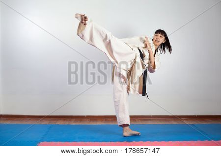 Woman demonstrate martial arts working together. Fighting position active lifestyle practicing fighting techniques
