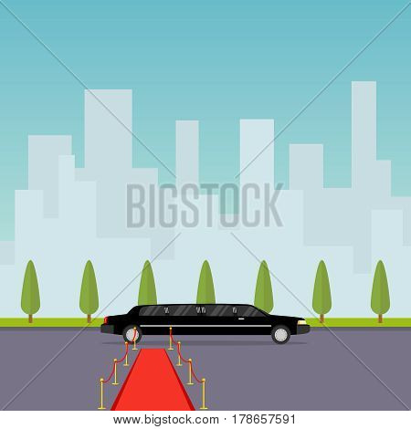 Limousine with a red carpet. Flat design vector illustration vector.
