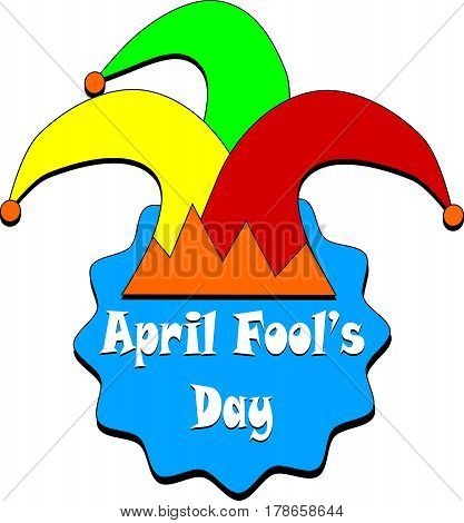 april fools day card with jester hat icon over white background
