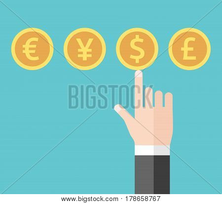 Hand Choosing Dollar Currency