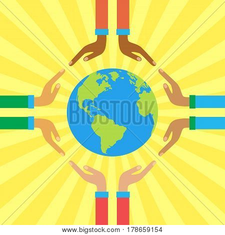 The palms of people of different skin colors holding globe. Ecological concept in flat style. Vector illustration on the theme: Save our planet.