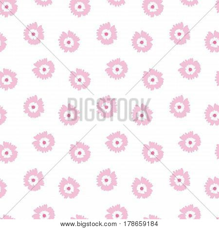 Seamless pattern with pink flowers on a white background. Spring light airy texture. vector.
