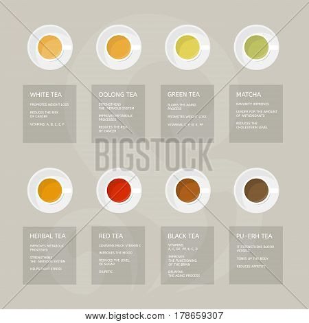 Types of tea: green, white, red, matcha, black, herbal, oolong. Beneficial properties of different of teas