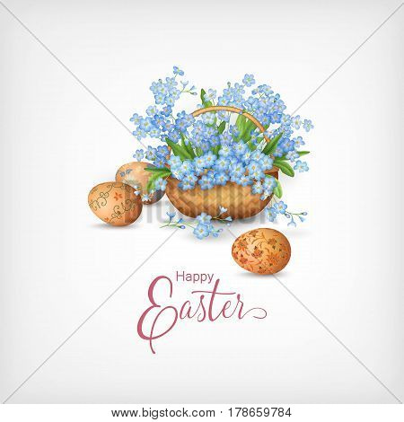 Happy Easter Card. Vector basket full of spring flowers and eggs