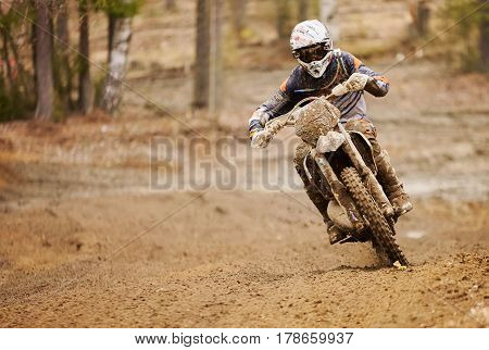 Enduro Driver Driving The Motorbike On The Race Track