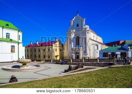 MINSK BELARUS - March 23 2017: Freedom Square in the upper city ancient buildings in the historical center of the city editorial