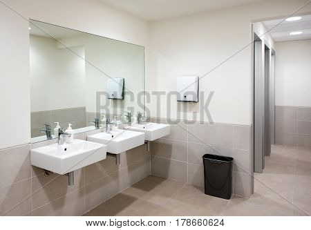 Public Bathroom Or Restroom With Hand Basins