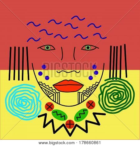 women face or a mask. American Indian in traditional coloring. Ethnic patterns of Native Americans: the Aztec, Inca, Maya, Alaska Indians (Mexico, Ecuador, Peru, Brazil).