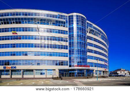 Minsk Belarus - March 23 2017 modern architecture business center Pokrovsky on Pobediteley Avenue editorial