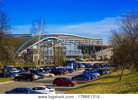 Minsk Belarus - March 23 2017 football arena on the Avenue of the Winners modern architecture against the blue sky panorama edition