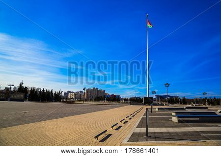 MINSK BELARUS - March 23 2017: Avenue of the Winners National Flag Square in the center of the city editorial