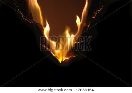 Burning paper in the dark