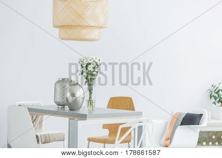 Communal Table With Flowers