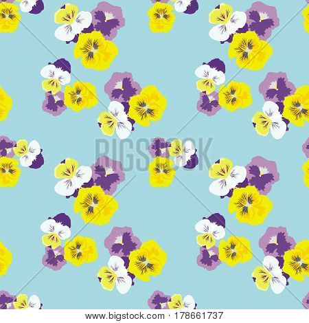 Seamless floral pattern with pansies on a light blue background. Delicate fashionable background for textiles, Wallpaper, and various designs. vector