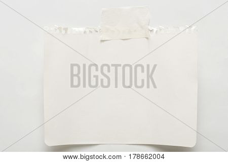 Note paper piece, ripped notebook sheet. Office and business stationary, blank copy space for text, template