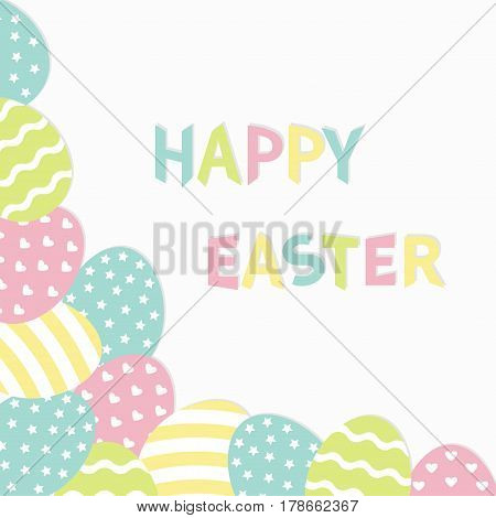 Happy Easter colorful text. Painted egg corner frame. Painting shell. Heart star line shape pattern. Light color. Greeting card. White background Isolated. Flat design. Vector illustration