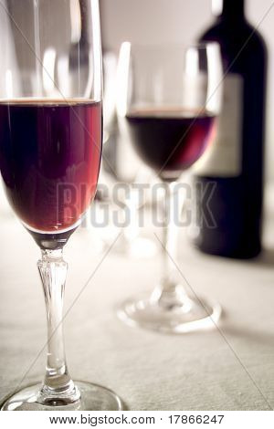 red wine glasses and bottle poster