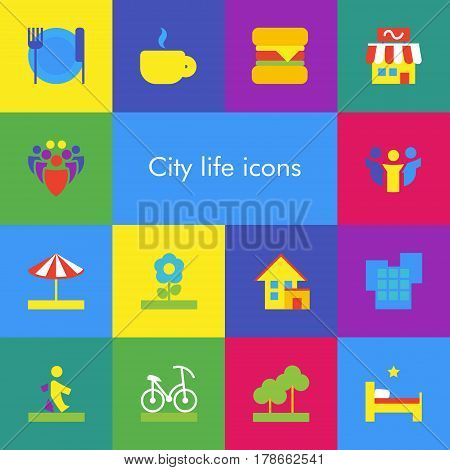 Vector eps set showing city life icons or illustrations also good for touristic theme in flat material design style