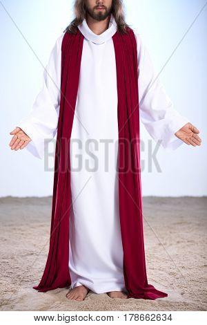 Resurrected Jesus Standing On Sand