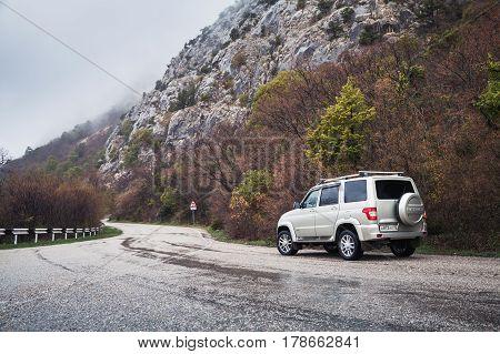 Uaz Patriot On The Mountain Road