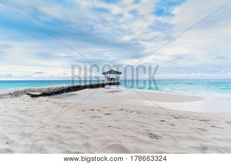 Beautiful scenery image of tropical Maldives island