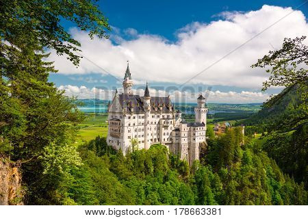 Neuschwanstein Lovely Autumn Landscape Panorama Picture of the fairy tale castle near Munich in Bavaria Germany